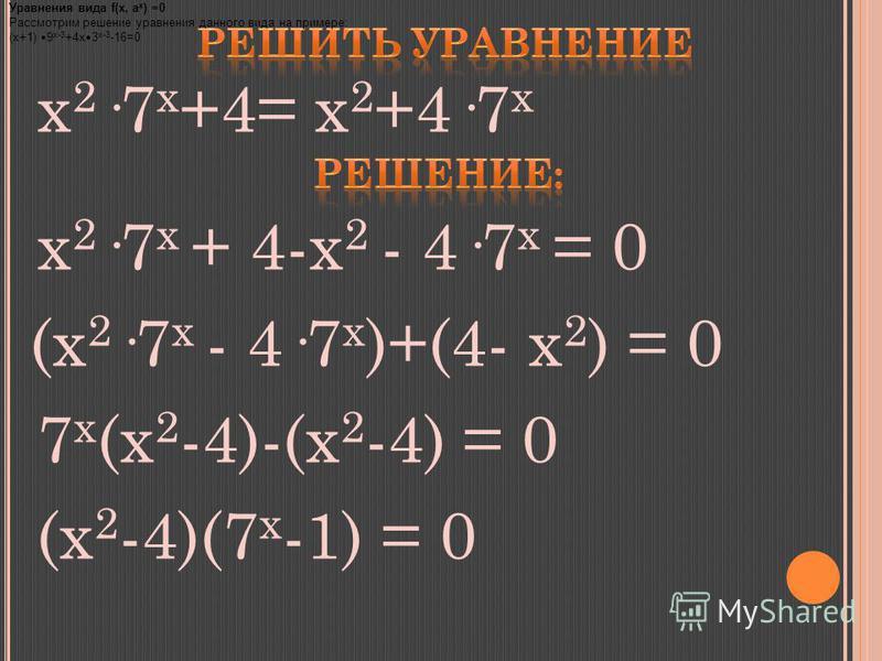 x 2 ·7 x +4= x 2 +4·7 x x 2 ·7 x + 4-x 2 - 4·7 x = 0 (x 2 ·7 x - 4·7 x )+(4- x 2 ) = 0 7 x (x 2 -4)-(x 2 -4) = 0 (x 2 -4)(7 x -1) = 0 Уравнения вида f(x, a x ) =0 Рассмотрим решение уравнения данного вида на примере: (х+1) 9 х-3 +4 х 3 х-3 -16=0