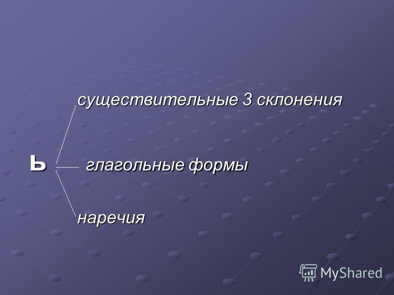 существительные 3 склонения ь глагольные формы наречия