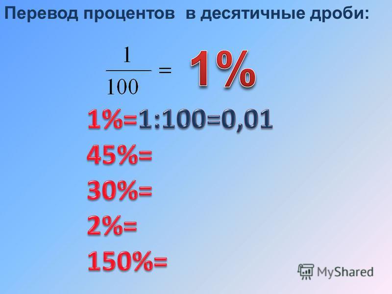 Перевод процентов в десятичные дроби: