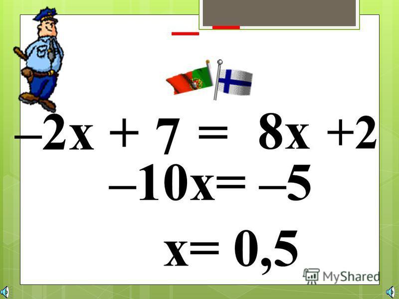 -3x + 7 = x – 9 – + – –2x= –16 х= 8 Слагаемое можно переносить из одной части уравнения в другую, изменяя его знак. уравнения в другую, изменяя его знак.