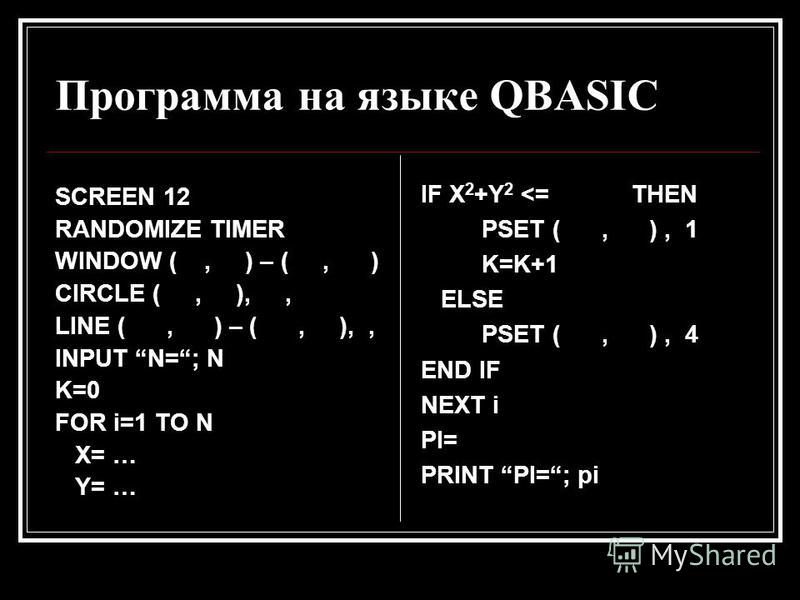 Программа на языке QBASIC SCREEN 12 RANDOMIZE TIMER WINDOW (, ) – (, ) CIRCLE (, ),, LINE (, ) – (, ),, INPUT N=; N K=0 FOR i=1 TO N X= … Y= … IF X 2 +Y 2 <= THEN PSET (, ), 1 K=K+1 ELSE PSET (, ), 4 END IF NEXT i PI= PRINT PI=; pi