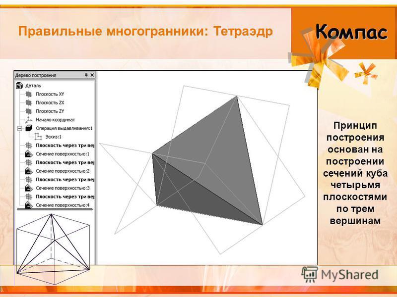 Правильные многогранники: Тетраэдр Принцип построения основан на построении сечений куба четырьмя плоскостями по трем вершинам Компас