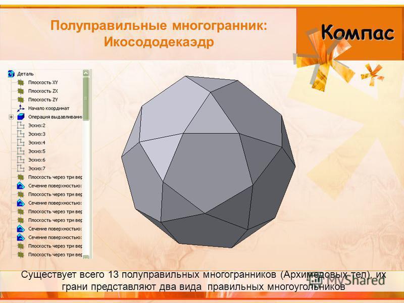 Полуправильные многогранник: Икосододекаэдр Компас Существует всего 13 полуправильных многогранников (Архимедовых тел), их грани представляют два вида правильных многоугольников