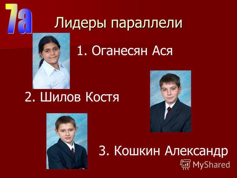 Лидеры параллели 2. Шилов Костя 3. Кошкин Александр 1. Оганесян Ася