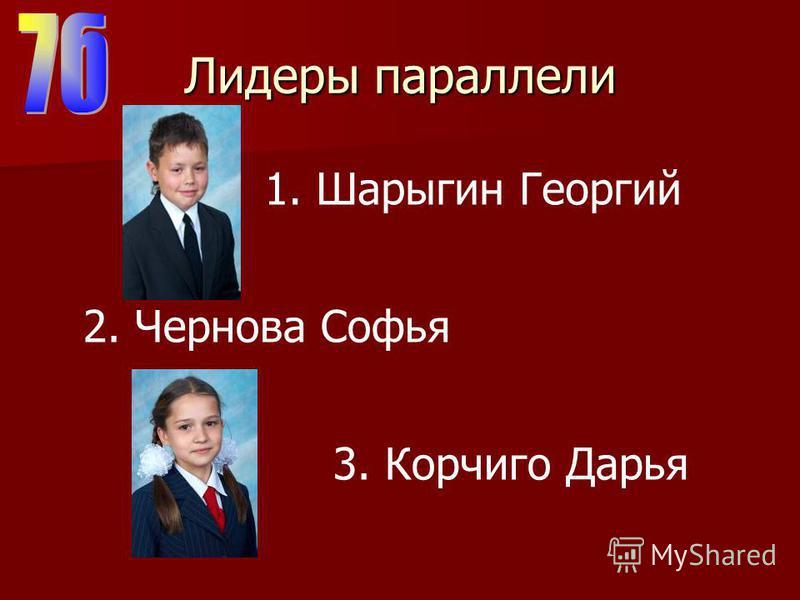 Лидеры параллели 2. Чернова Софья 3. Корчиго Дарья 1. Шарыгин Георгий