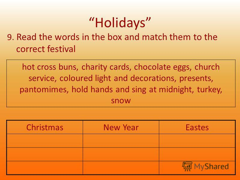 Holidays 9. Read the words in the box and match them to the correct festival ChristmasNew YearEastes hot cross buns, charity cards, chocolate eggs, church service, coloured light and decorations, presents, pantomimes, hold hands and sing at midnight,