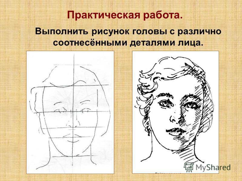 Практическая работа. Выполнить рисунок головы с различно соотнесёнными деталями лица.