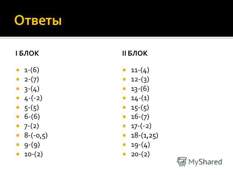 I БЛОК 1-(6) 2-(7) 3-(4) 4-(-2) 5-(5) 6-(6) 7-(2) 8-(-0,5) 9-(9) 10-(2) II БЛОК 11-(4) 12-(3) 13-(6) 14-(1) 15-(5) 16-(7) 17-(-2) 18-(1,25) 19-(4) 20-(2)
