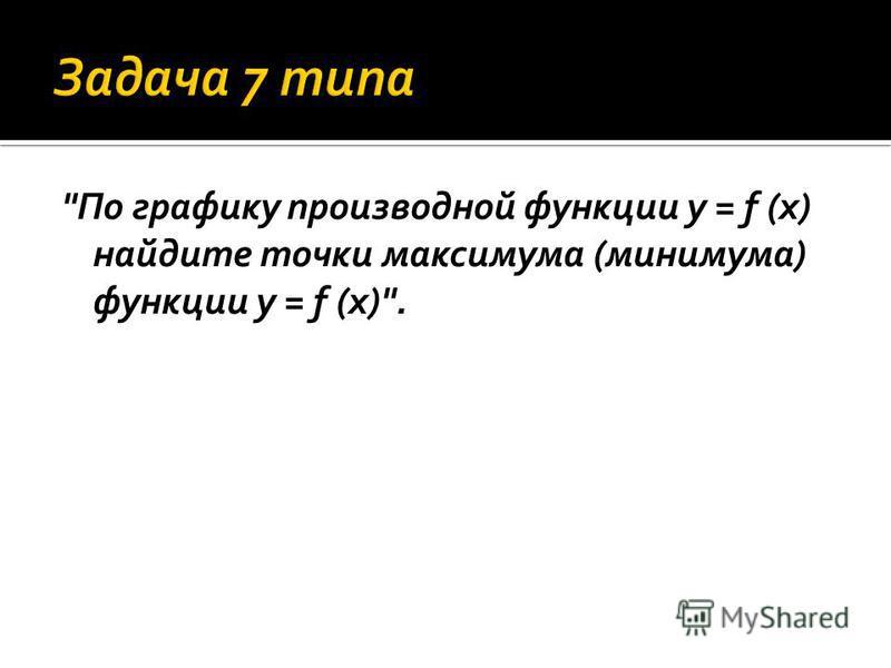 По графику производной функции y = f (x) найдите точки максимума (минимума) функции y = f (x).