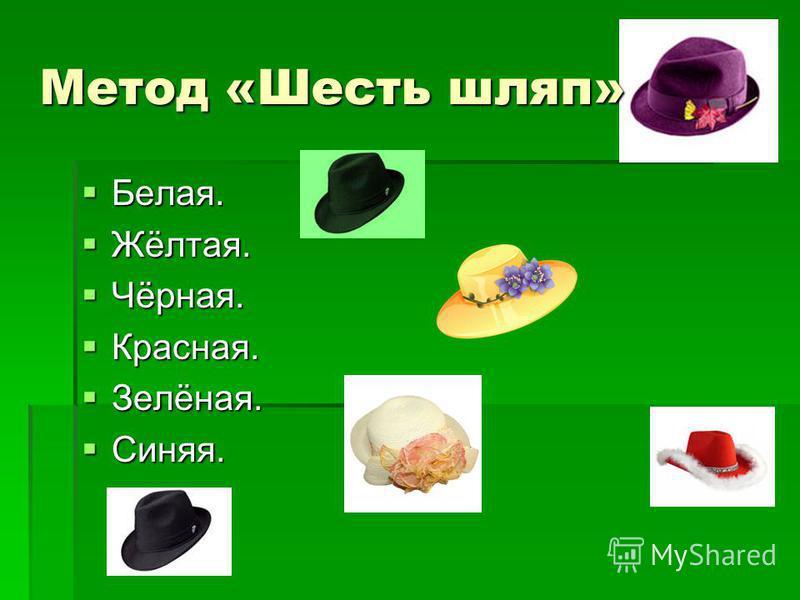 Метод «Шесть шляп» Белая. Белая. Жёлтая. Жёлтая. Чёрная. Чёрная. Красная. Красная. Зелёная. Зелёная. Синяя. Синяя.