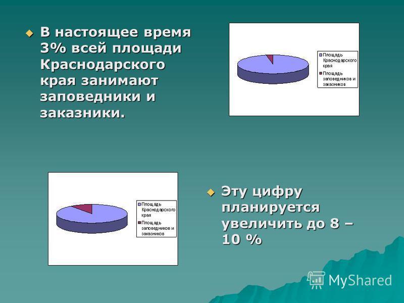 В настоящее время 3% всей площади Краснодарского края занимают заповедники и заказники. Эту цифру планируется увеличить до 8 – 10 %
