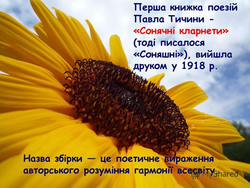 Перша книжка поезій Павла Тичини - «Сонячні кларнети» (тоді писалося «Соняшні»), вийшла друком у 1918 р. Назва збірки це поетичне вираження авторського розуміння гармонії всесвіту.