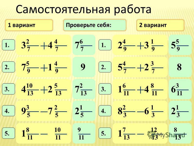 1 вариант 2 вариант 6 7 7 2 7 4 7 34 1. Проверьте себя: 4 9 1 9 23 1. 5 9 4 9 71 2. 10 13 5 42 3. 4 7 3 7 52 2. 6 11 8 14 3. 3 5 2 5 97 4. 2 3 1 3 86 8 11 10 11 1 5. 7 13 12 13 1 5. 5 9 5 98 2 13 7 3 11 6 1 5 2 1 3 2 9 8 13 Cамостоятельная работа