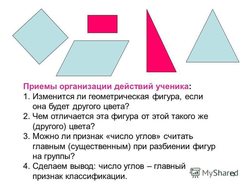 13 Приемы организации действий ученика: 1. Изменится ли геометрическая фигура, если она будет другого цвета? 2. Чем отличается эта фигура от этой такого же (другого) цвета? 3. Можно ли признак «число углов» считать главным (существенным) при разбиени