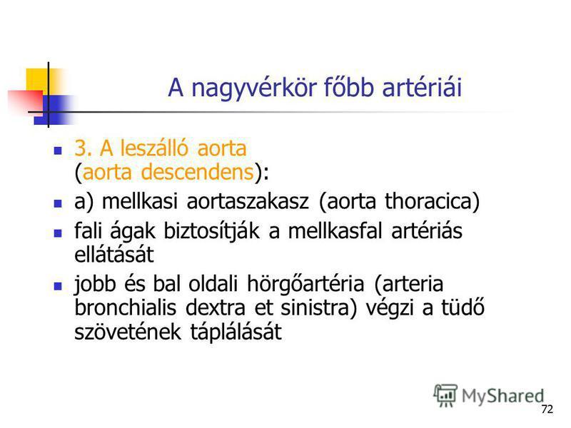 72 A nagyvérkör főbb artériái 3. A leszálló aorta (aorta descendens): a) mellkasi aortaszakasz (aorta thoracica) fali ágak biztosítják a mellkasfal artériás ellátását jobb és bal oldali hörgőartéria (arteria bronchialis dextra et sinistra) végzi a tü