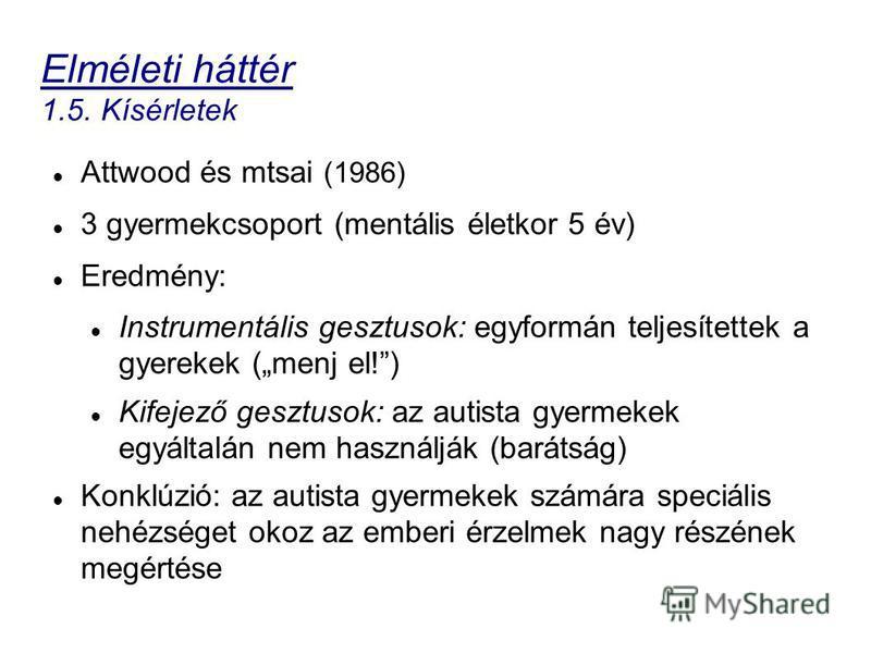 Elméleti háttér 1.5. Kísérletek Attwood és mtsai (1986) 3 gyermekcsoport (mentális életkor 5 év) Eredmény: Instrumentális gesztusok: egyformán teljesítettek a gyerekek (menj el!) Kifejező gesztusok: az autista gyermekek egyáltalán nem használják (bar