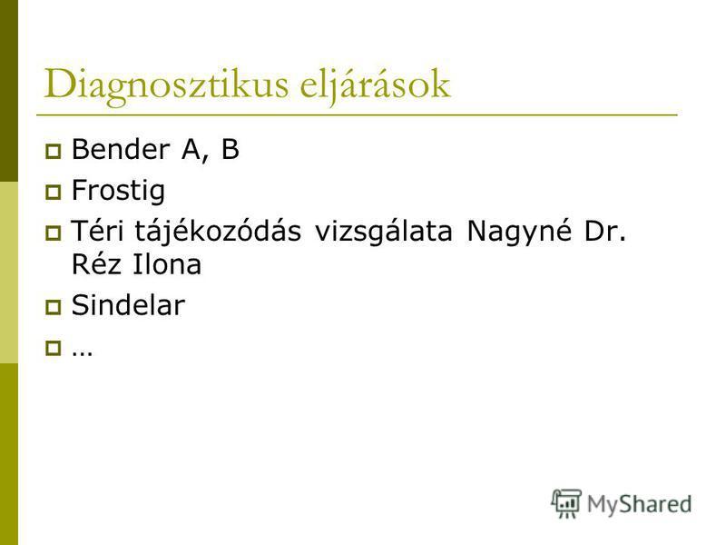 Diagnosztikus eljárások Bender A, B Frostig Téri tájékozódás vizsgálata Nagyné Dr. Réz Ilona Sindelar …