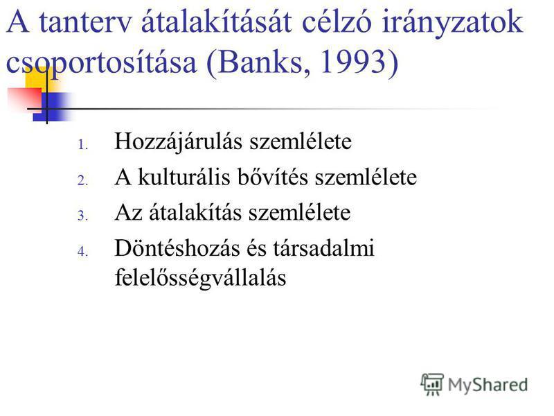 A tanterv átalakítását célzó irányzatok csoportosítása (Banks, 1993) 1. Hozzájárulás szemlélete 2. A kulturális bővítés szemlélete 3. Az átalakítás szemlélete 4. Döntéshozás és társadalmi felelősségvállalás