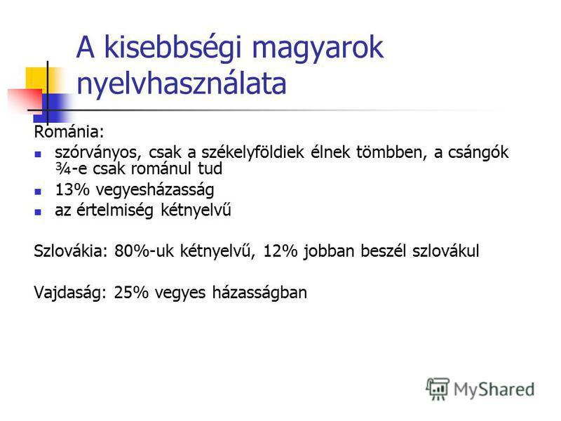 A kisebbségi magyarok nyelvhasználata Románia: szórványos, csak a székelyföldiek élnek tömbben, a csángók ¾-e csak románul tud 13% vegyesházasság az értelmiség kétnyelvű Szlovákia: 80%-uk kétnyelvű, 12% jobban beszél szlovákul Vajdaság: 25% vegyes há