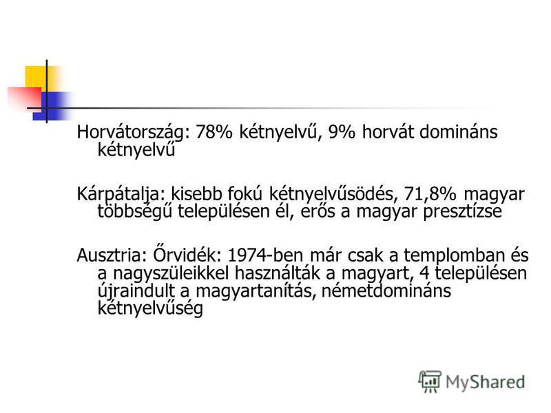 Horvátország: 78% kétnyelvű, 9% horvát domináns kétnyelvű Kárpátalja: kisebb fokú kétnyelvűsödés, 71,8% magyar többségű településen él, erős a magyar presztízse Ausztria: Őrvidék: 1974-ben már csak a templomban és a nagyszüleikkel használták a magyar