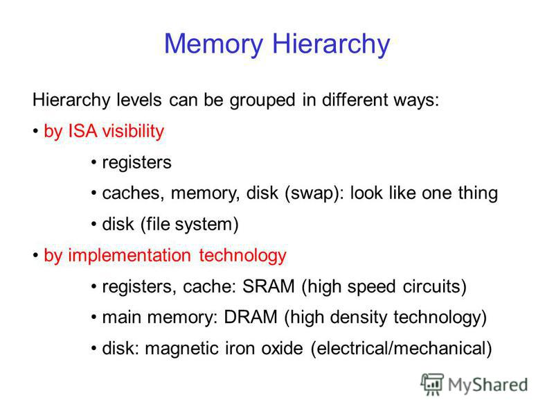 Memory Hierarchy Hierarchy levels can be grouped in different ways: by ISA visibility registers caches, memory, disk (swap): look like one thing disk (file system) by implementation technology registers, cache: SRAM (high speed circuits) main memory: