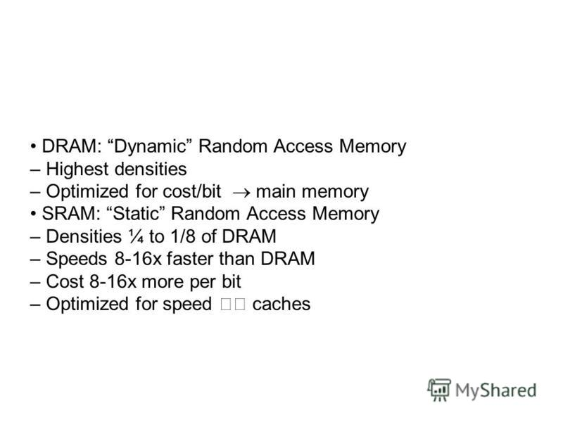 DRAM: Dynamic Random Access Memory – Highest densities – Optimized for cost/bit main memory SRAM: Static Random Access Memory – Densities ¼ to 1/8 of DRAM – Speeds 8-16x faster than DRAM – Cost 8-16x more per bit – Optimized for speed caches