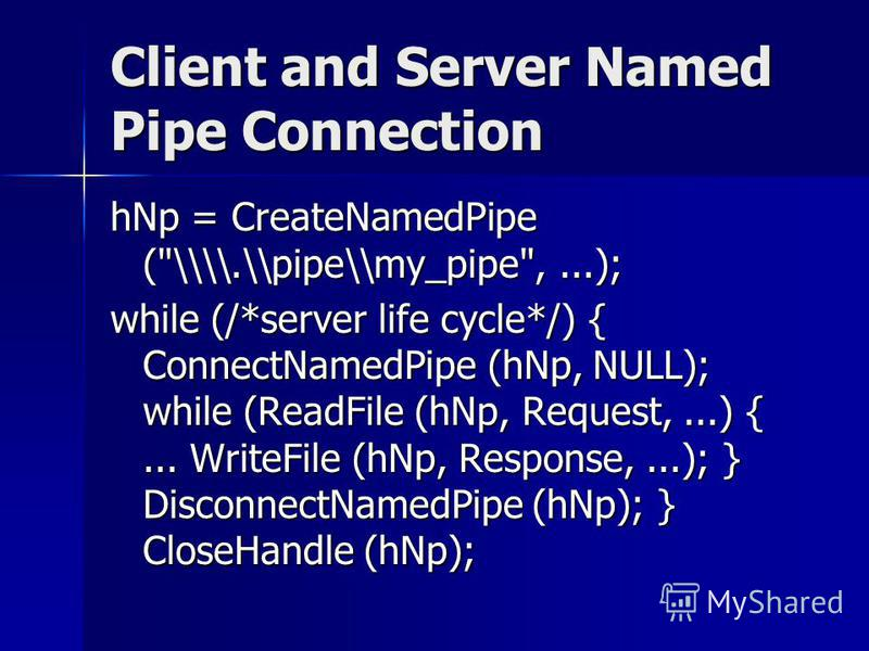 Client and Server Named Pipe Connection hNp = CreateNamedPipe (