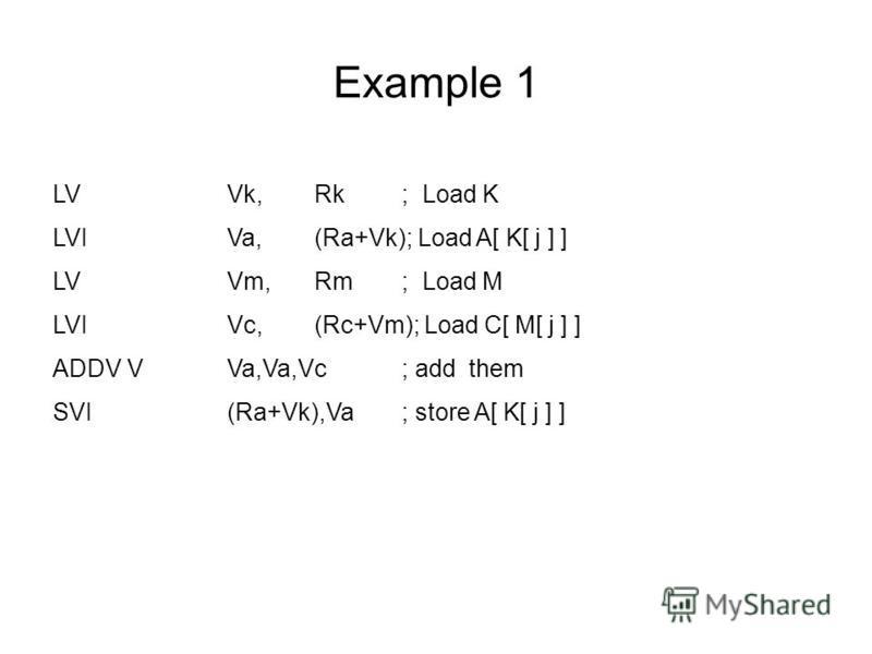 Example 1 LVVk, Rk; Load K LVIVa,(Ra+Vk); Load A[ K[ j ] ] LVVm, Rm; Load M LVIVc,(Rc+Vm); Load C[ M[ j ] ] ADDV VVa,Va,Vc; add them SVI(Ra+Vk),Va; store A[ K[ j ] ]