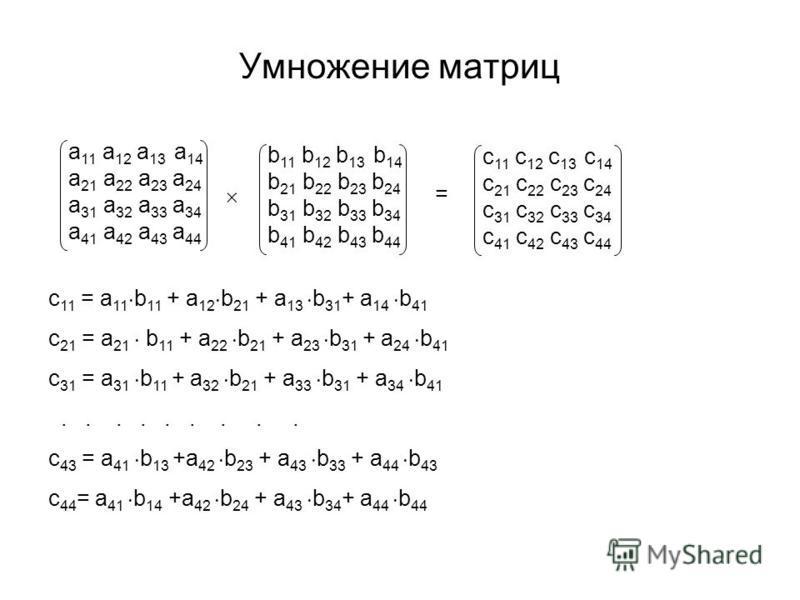 Умножение матриц а 11 а 12 а 13 а 14 а 21 а 22 а 23 а 24 а 31 а 32 а 33 а 34 а 41 а 42 а 43 а 44 c 11 = а 11 b 11 + а 12 b 21 + a 13 b 31 + a 14 b 41 c 21 = a 21 b 11 + a 22 b 21 + a 23 b 31 + a 24 b 41 c 31 = a 31 b 11 + a 32 b 21 + a 33 b 31 + a 34