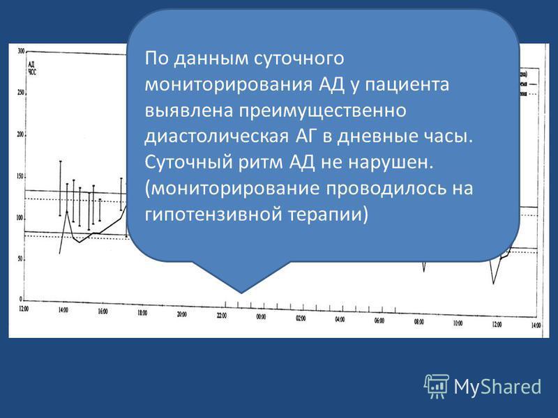 По данным суточного мониторирования АД у пациента выявлена преимущественно диастолическая АГ в дневные часы. Суточный ритм АД не нарушен. (мониторирование проводилось на гипотензивной терапии)