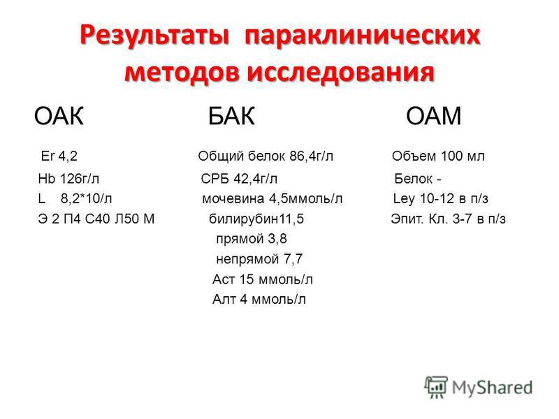 Результаты параклинических методов исследованияя ОАК БАК ОАМ Er 4,2 Общий белок 86,4 г/л Объем 100 мл Hb 126 г/л СРБ 42,4 г/л Белок - L 8,2*10/л мочевина 4,5 ммоль/л Ley 10-12 в п/з Э 2 П4 С40 Л50 М билирубин 11,5 Эпит. Кл. 3-7 в п/з прямой 3,8 непря