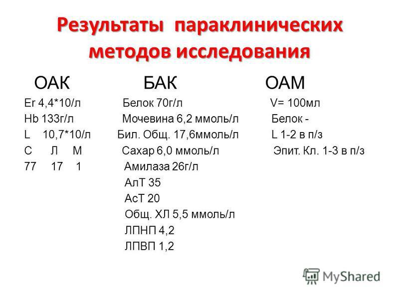 Результаты параклинических методов исследованияя ОАК БАК ОАМ Er 4,4*10/л Белок 70 г/л V= 100 мл Hb 133 г/л Мочевина 6,2 ммоль/л Белок - L 10,7*10/л Бил. Общ. 17,6 ммоль/л L 1-2 в п/з С Л М Сахар 6,0 ммоль/л Эпит. Кл. 1-3 в п/з 7717 1 Амилаза 26 г/л А