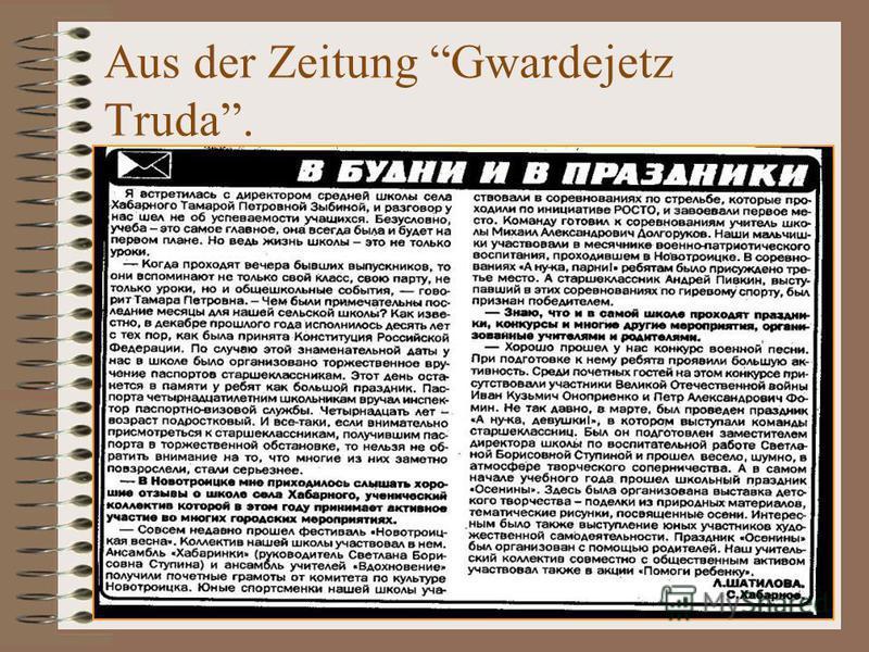 Aus der Zeitung Gwardejetz Truda.