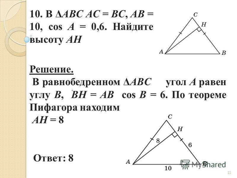 10. В ΔABC AC = BC, AB = 10, cos A = 0,6. Найдите высоту AH Ответ: 8 Решение. В равнобедренном ΔABC угол A равен углу B, BH = AB cos B = 6. По теореме Пифагора находим AH = 8 11