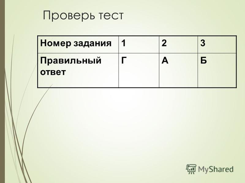 Проверь тест Номер задания 123 Правильный ответ ГАБ