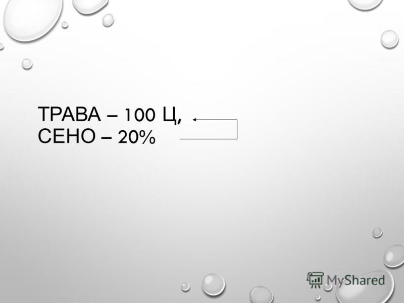 ТРАВА – 100 Ц, СЕНО – 20%