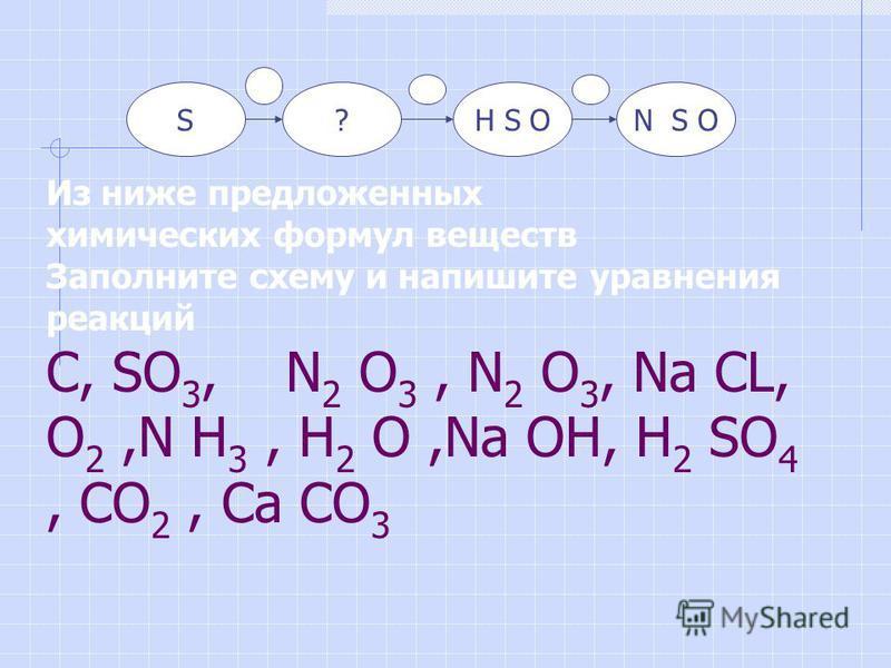 SN S OH S OH S O? Из ниже предложенных химических формул веществ Заполните схему и напишите уравнения реакций C, SO 3, N 2 O 3, N 2 O 3, Nа CL, O 2,N H 3, H 2 O,Nа OH, H 2 SO 4, CO 2, Cа CO 3