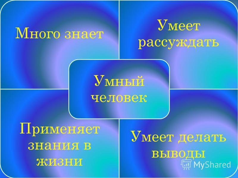 Много знает Умеет рассуждать Применяет знания в жизни Умеет делать выводы Умный человек