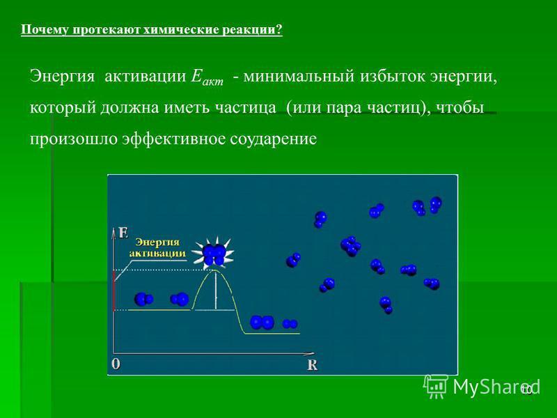 10 Энергия активации Е акт - минимальный избыток энергии, который должна иметь частица (или пара частиц), чтобы произошло эффективное соударение Почему протекают химические реакции?