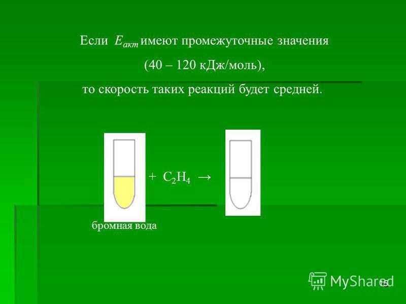 15 Если Е акт имеют промежуточные значения (40 – 120 к Дж/моль), то скорость таких реакций будет средней. бромная вода + С 2 Н 4