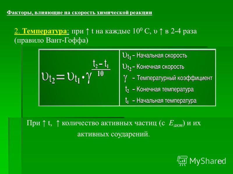 17 Факторы, влияющие на скорость химической реакции 2. Температура: при t на каждые 10 0 С, υ в 2-4 раза (правило Вант-Гоффа) При t, количество активных частиц (с Е акт ) и их активных соударений.
