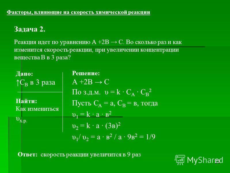 23 Задача 2. Реакция идет по уравнению А +2В С. Во сколько раз и как изменится скорость реакции, при увеличении концентрации вещества В в 3 раза? Факторы, влияющие на скорость химической реакции Решение: А +2В С По з.д.м. υ = k С A C B 2 Пусть С А =