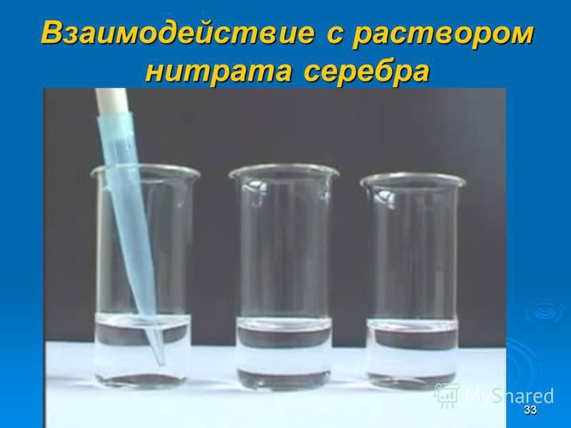 32 Качественная реакция на карбонаты МеСО3 или МеНСО3+ кислота= соль+СО2+вода МеСО3 или МеНСО3+ кислота= соль+СО2+вода Мел + соляная кислота Мел + соляная кислота СаСО 3 +2НС1= СаСО 3 +2НС1= СаС1 2 +СО 2 +Н 2 О СаС1 2 +СО 2 +Н 2 О
