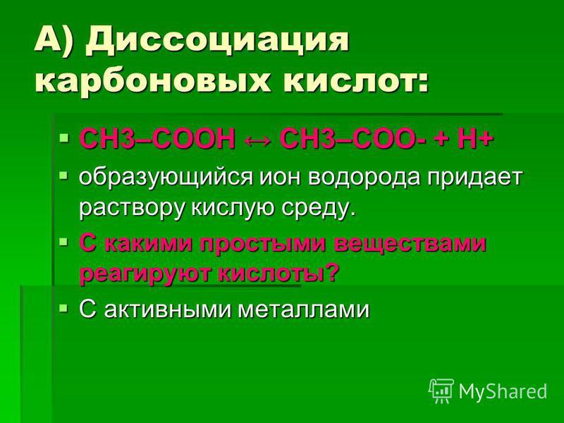 А) Диссоциация карбоновых кислот: СН3–COOH СН3–COO- + H+ СН3–COOH СН3–COO- + H+ образующийся ион водорода придает раствору кислую среду. образующийся ион водорода придает раствору кислую среду. С какими простыми веществами реагируют кислоты? С какими