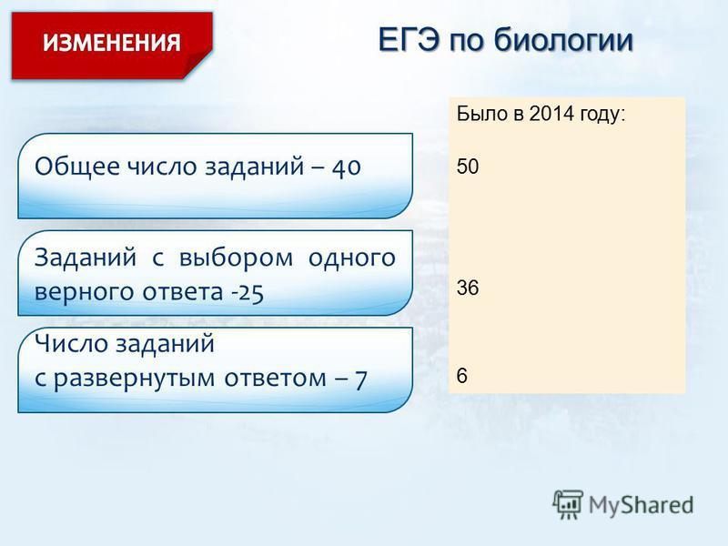 ЕГЭ по биологии Общее число заданий – 40 Заданий с выбором одного верного ответа -25 Число заданий с развернутым ответом – 7 Было в 2014 году: 50 36 6