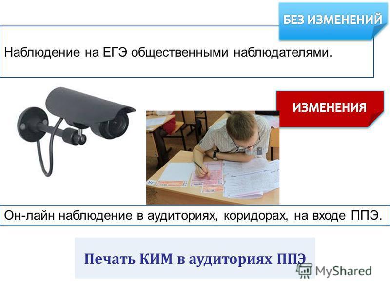 Наблюдение на ЕГЭ общественными наблюдателями. Он-лайн наблюдение в аудиториях, коридорах, на входе ППЭ. Печать КИМ в аудиториях ППЭ