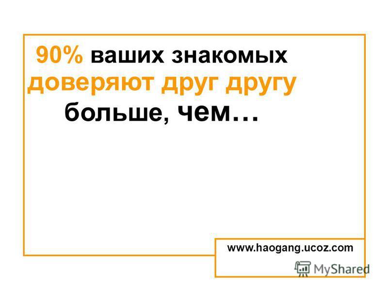 90% ваших знакомых доверяют друг другу больше, чем… www.haogang.ucoz.com