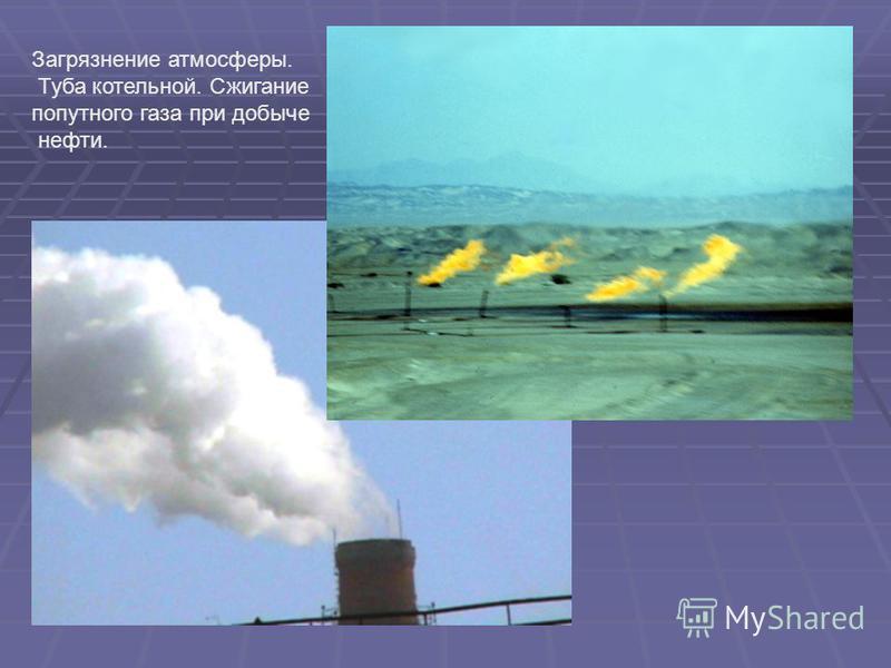 Загрязнение атмосферы. Туба котельной. Сжигание попутного газа при добыче нефти.