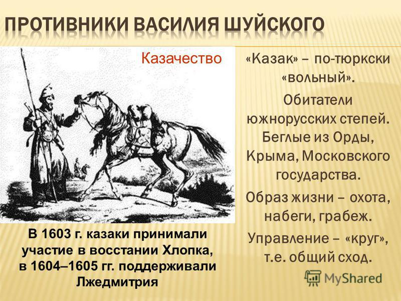 «Казак» – по-тюркски «вольный». Обитатели южнорусских степей. Беглые из Орды, Крыма, Московского государства. Образ жизни – охота, набеги, грабеж. Управление – «круг», т.е. общий сход. Казачество В 1603 г. казаки принимали участие в восстании Хлопка,