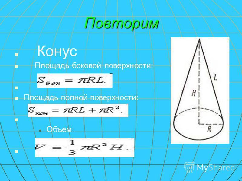 Повторим Конус Площадь боковой поверхности: Площадь полной поверхности: Объем :